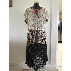 5 pieces ensemble,animal print dress.